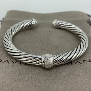 David Yurman Pave Diamond Singel Station Bracelet